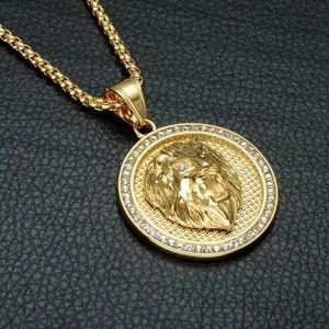 "Other - 18k Gold Lion Head Pendant Necklace 24"" Link Chain"